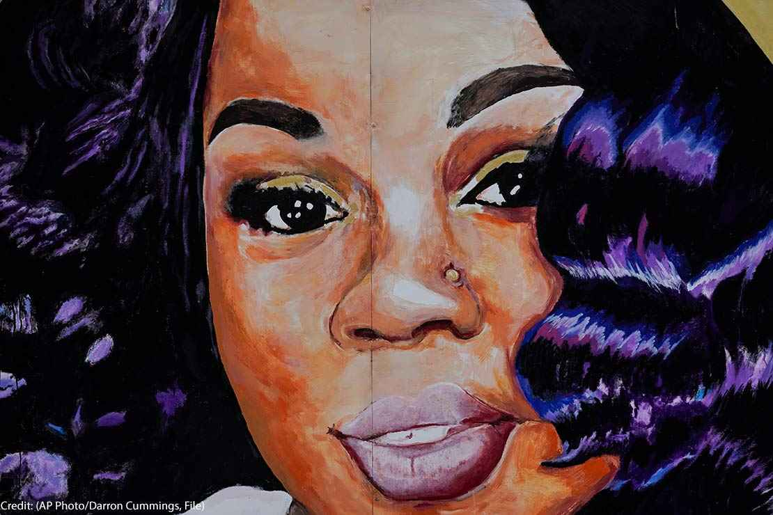 Close up image of a mural of Breonna Taylor